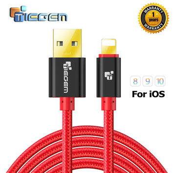 TIEGEM 1 2 3M 2A Nylon USB Charger Cable For iphone 5 5s 6 6s 7 Plus iOS 9 10 Fast Charging cables for ipad phone accessories