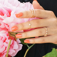 Rose Gold Midi Rings Set, Dainty Midi Rings Set, Cute Little Midi Rings, Daisy Midi Ring, Minimalist Midi Rings SET OF 3