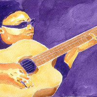 Watercolor Painting Print Jazz Guitar Player 5x7