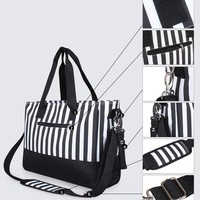 4 Piece Striped Tote Diaper Bag