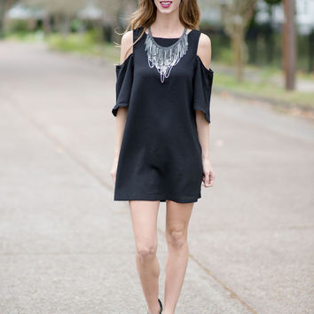 Give You the Cold Shoulder Dress - Black