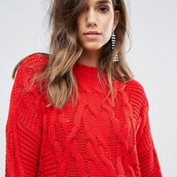 Miss Selfridge Cable Knit Oversized Sweater at asos.com