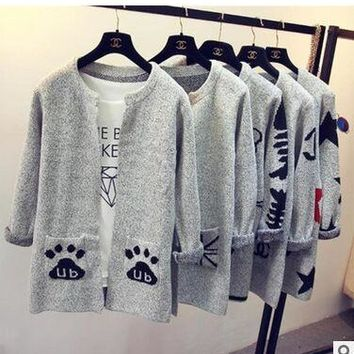 2016 new arrivals Fashion Star Pattern Cardigans Female Sweaters Long Sleeve Knitted Slim Women Sweater Cardigan