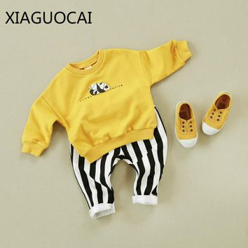 XiaGuoCai Family Matching Outfits Mother And Son Girls Boy Panda pattern Sweater Family Look Clothing Spring and Autumn l25 35