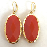 Trim In Gold Drop Earrings - Tomato Red
