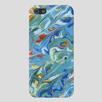 Savvy cell phone case, iPhone 5 or 4, Matte or glossy finish, Original painting, Abstract blue and gold painting. FREE SHIPPING