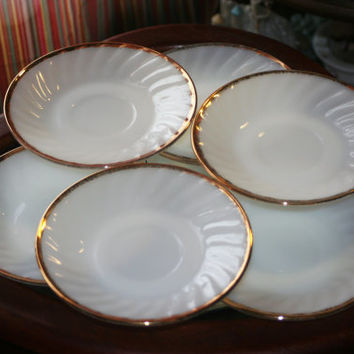 1950's Anchor Hocking 22k-Gold Swirl Pattern Milk Glass Saucer Set of 6