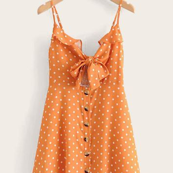 Tie Front Polka Dot Shirred Cami Dress
