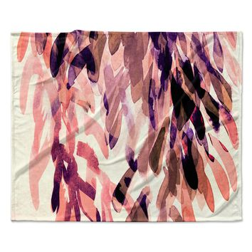 "Iris Lehnhardt ""Abstract Leaves I"" Orange Brown Fleece Throw Blanket"
