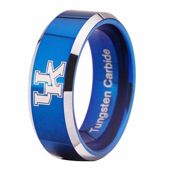 University of Kentucky Wildcats | UK | Tungsten Ring Band | White on Blue | 8MM