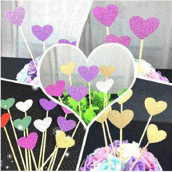 cake toppers glitter heart paper cards banner for Cupcake Wrapper Baking Cup birthday tea party wedding decor baby shower