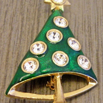 Vintage Green Metal Christmas Tree Brooch With Rhinestones