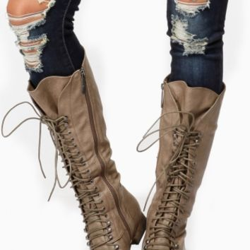 Breckelles Calf Lace Up Beige Boots @ Cicihot Boots Catalog:women's winter boots,leather thigh high boots,black platform knee high boots,over the knee boots,Go Go boots,cowgirl boots,gladiator boots,womens dress boots,skirt boots.