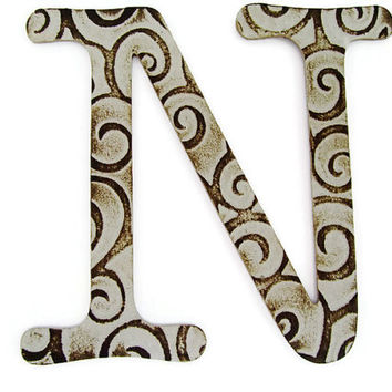 Chipboard letter N, 4 inch embossed letter, initials, wedding decor, wall decor, table decor, baby shower decor, custom sayings, gift tags