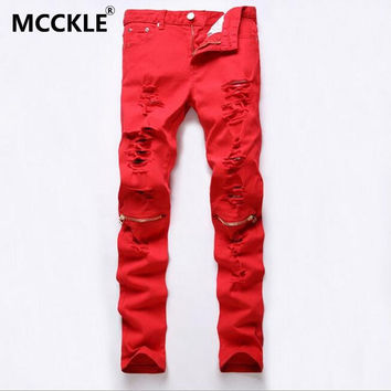 Men's Fashion Ripped Designer Slim Fit Knee Zipper Club Wear Denim Jogger Jeans
