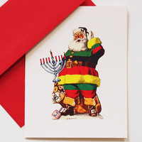 vintage Santa holiday card retro world religion christmas hanukkah kwanzaa greeting card