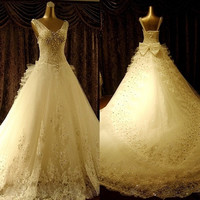 wedding dresses new  bride wedding dress wedding fashion shoulder Vintage Lace Wedding dress female dress = 1929646404
