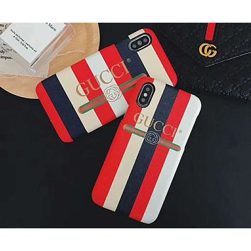 GUCCI tide brand men and women geometric print leather hard shell iphonex mobile phone case cover