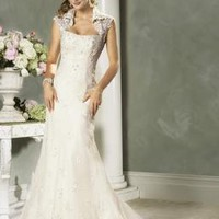 Strapless Applique Lace Mermaid Wedding Gown