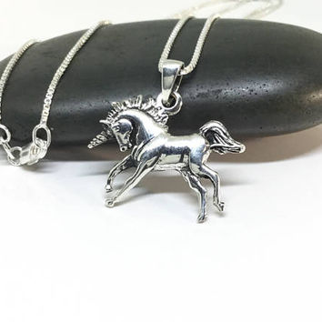 Unicorn Necklace Sterling Silver Unicorn Pendant Silver Horse Silver Charm Fairy Tale Large Pendant Realistic Whimsical Jewelry