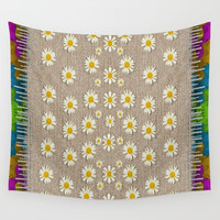 Star fall of fantasy flowers on pearl lace Wall Tapestry by Pepita Selles