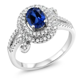 2.25 Ct Oval Blue Simulated Sapphire 925 Sterling Silver Ring