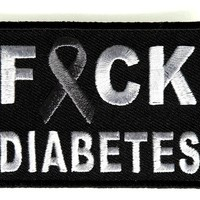 "Embroidered Iron On Patch - Fuck Diabetes [Support Ribbon] 2.75"" Patch"