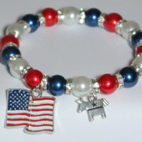 2016 election - democrat - red white and blue - democratic party - vote 2016 - bernie for president - bernie sanders - handmade bracelet