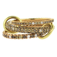 Spinelli Kilcollin Nova Rose Pave Diamond Gold Interlocked Ring Set