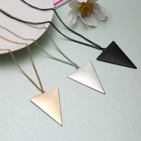 Punk Triangle Pendant Necklace Silver Gold Black 3 Colors Fashion Trendy