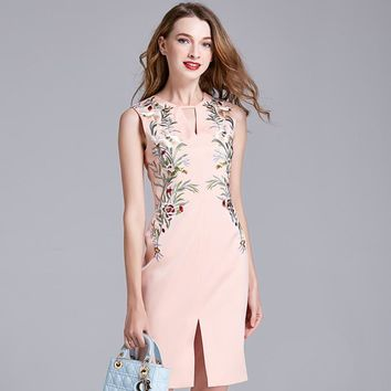 Slim Summer Women's Fashion Embroidery Hollow Out Split Sexy One Piece Dress [288439566377]
