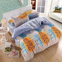 3or 4Pcs Leaves Printed Bedding Set Duvet Cover Sets Bed Include Bed Sheet Pillowcase