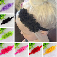 Baby Chiffon 3 Flower Headband Girls Lace Headband Infant Knitting Elastic Hair Band Baby Hair Accessories W001