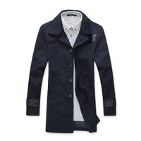 Single Breasted Fashion Lape Men Dark Blue Slim Fitting Cotton Wind Coat M/L/XL/XXL @9108065db