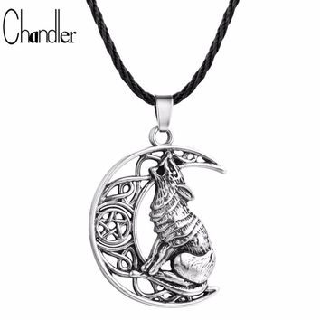 Moon Necklaces Chandler Money Wolf Celtic Moon Viking Dog  Pendant