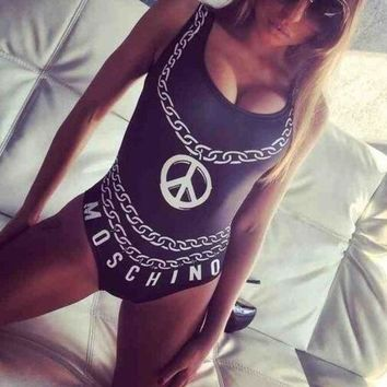 DCCKI2G Chain Letter Print One Piece Swimsuit Swimwear