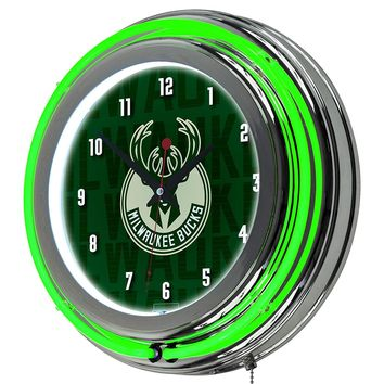 Milwaukee Bucks Game Room Premium Neon Clock
