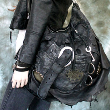 Black slouchy leather hobo rocker motorbike tribal bag high fashion gothic native rock n roll bag sweet smoke metalhead raw asymmetrical