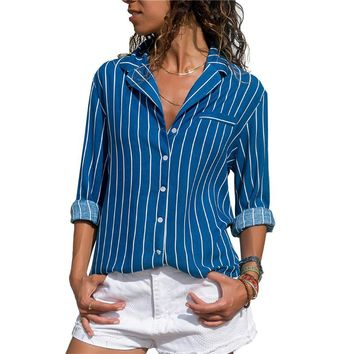 Striped Collar Front Button Ladies Long Sleeve Office Blouse
