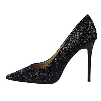 BIGTREE Brand Designer Pumps Luxury 2018 Women Bling Wedding Shoes Glittery Pumps Sexy High Heel Closed Toe Sandals Party Shoes
