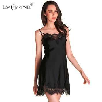 Summer Style High Quality Brand Women Lace Sexy Special Spaghetti Strap Nightgown Faux Silk Women Sleepwear Lounge