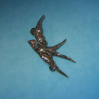 Swallow Pin, Vintage, Victorian Revival or Transitional, Silver Ruby Crystal & Marcasite, Stamped 835, European Perhaps German, Romantic