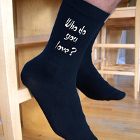 Who Do You Love Valentine Socks, Custom Printed Personalized Men's Black Dress Socks, Valentine Gift Idea, Engagement Gift Idea