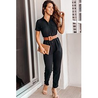 Black Button Down Jumpsuit with Belt