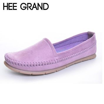 HEE GRAND Women's Flats 2017 Soft Flock Loafers Slip-on Breathable Flats Spring Pregnant Women's Casual Flat Heel Shoes XWD3357