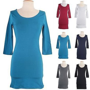 Casual Scoop Neck 3/4 Sleeve Knee Length Tunic Top Bodycon Slim Midi Skirt Dress