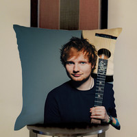 Ed Sheeran Guitar Pillow, Pillow Case, Pillow Cover, 16 x 16 Inch One Side, 16 x 16 Inch Two Side, 18 x 18 Inch One Side, 18 x 18 Inch Two Side, 20 x 20 Inch One Side, 20 x 20 Inch Two Side