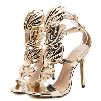 High heels sandal patent leather gladiator women pumps stiletto