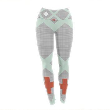 "Pellerina Design ""Mint Lattice Weave"" Gray Mint Yoga Leggings"