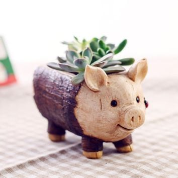 Resin Succulent Flower Pot Kawaii Zakka Cartoon Elephant Pig Stake Micro Landscape Garden Home Decoration Planter